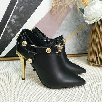 Versace Womens Fashion Tribute Ankle Boots Leather Zipper Ankle Short black Boots Flats High Heels Shoes Winter Autumn