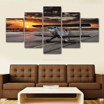 Biplane Aircraft Airplane on Runway at Sunset 5 panel picture print
