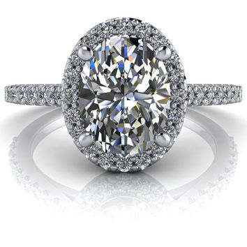 Free Center Stone! Diamond Halo Engagement Ring Setting - Moissanite Engagement Ring