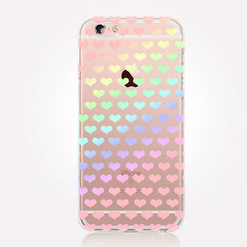 Transparent Rainbow Hearts iPhone Case - Transparent Case - Clear Case - Transparent iPhone 6 - Transparent iPhone 5 - Transparent iPhone 4