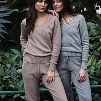 Women Sweater Suit and Sets Casual Knitted Sweaters Pants 2PCS Track Suits Woman Casual Knitted Trousers+Jumper Tops Women Set