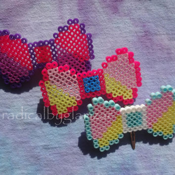 Custom Kandi Bow - Headband Bow - Clip On Bow - Bow Tie - Hair Clip - Perler Bead Jewelry