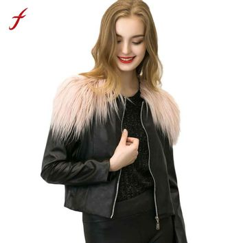 2017 Winter Girl Womens Sexy Slim Biker Motorcycle Leather  Jacket Zipper Short Faux Fur Coat