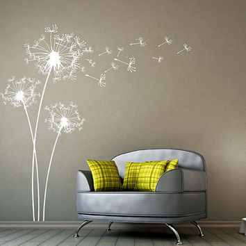 Big Dandelions Wall Decal Dandelion Wall Decals Wall vinyl graphic wall decal white Dandelions Wall sticker Flower wall art nursery room