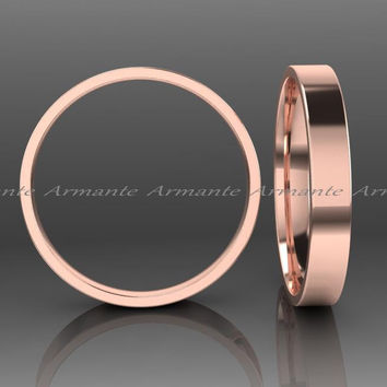 14K Rose Gold Plain Wedding Band, 3.00mm Wide