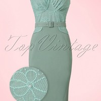 50s Elvy Beads Pencil Dress in Mint