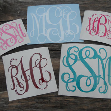 Single 2 inch Vinyl Personalized Monogram Decal Sticker Free Shipping in USA