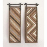 Panel Wood Metal Wall Decor Set,Assorted 2
