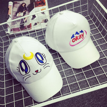 Korean Summer Lovely Cartoons Cats Embroidery Outdoors Baseball Cap Cap Hats [4989711428]