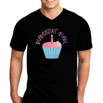 Birthday Girl - Candle Cupcake Adult Dark V-Neck T-Shirt by TooLoud