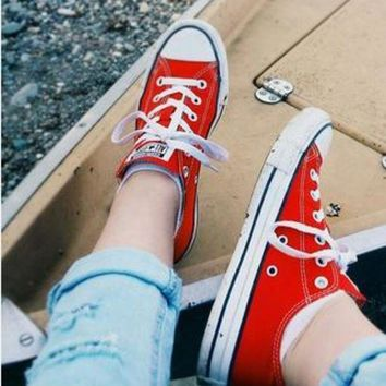 LMFUG7 Converse All Star Sneakers canvas shoes for women sports shoes low-top red