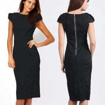 New Fashion Exposed Zipper Cap Sleeve Women's Wear to Work Formal Career Wiggle  Slim Dress