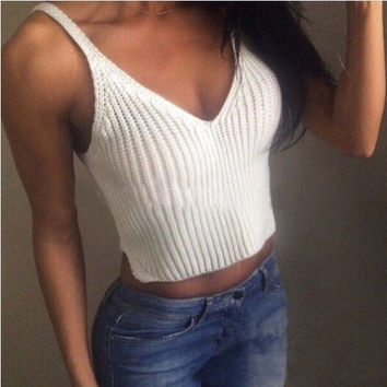 Solid color knit Vest Tops Camisole