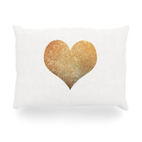 "Suzanne Carter ""Gold Heart"" Glam Oblong Pillow"