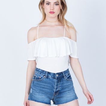 Cross Back Ruffled Blouse