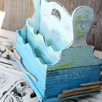 Coastal cottage Letter Organizer - Desk Organizer for Beach Inspired spaces Turquoise , Aqua & White