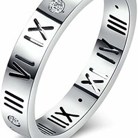 Titanium Steel Roman Numeral Dual Ring For His Hers,Cubic Zirconia,Silver,Rose Gold