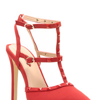 Red Faux Nubuck Ankle Strap Studded Pointed Toe Heels