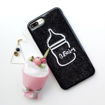 Fashion glitter milk bottle tpu Case Cover for Apple iPhone 7 7Plus 6 Plus 6 -05011