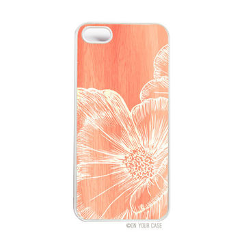 iPhone 5 Case Wood Grain Floral Coral Poppy