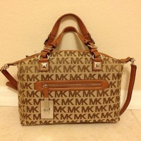 Michael Kors Mk Signature Calista Large Satchel Bag Shoulder Handbag Bg/eb/lug
