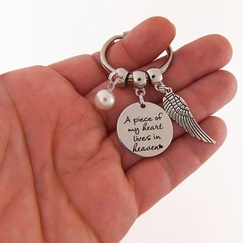 A piece of my heart lives in heaven, quote keychain, heaven key chain, sympathy gift, memorial gift, in memory of, friend sympathy gift