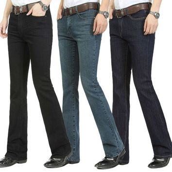 Free Shipping Male bell bottom denim trousers slim black horn Boot Cut jeans men's clo