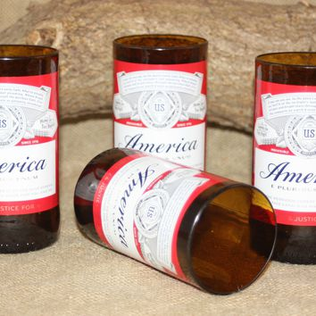 "Drinking Glasses Upcycled from Budweiser ""America"" Beer Bottles, Unique Glassware"