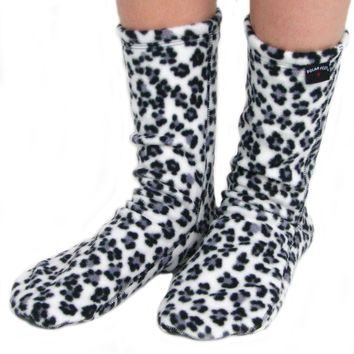 Kids' Fleece Socks - Snow Leopard