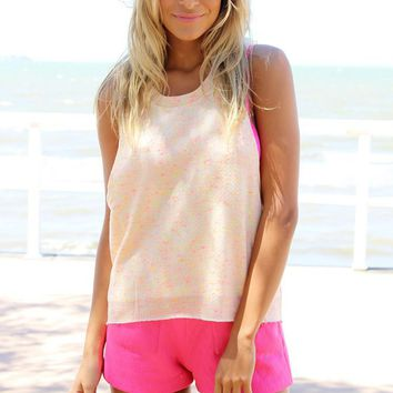 Light Peach Knit Tank with Pink and Yellow Speckle Print