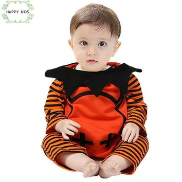 2018 Halloween Devil Costume baby Suit 3 pcs. sliders + pumpkin vest + hat Baby for little boys girls Clothes for 0-18 m DLY323