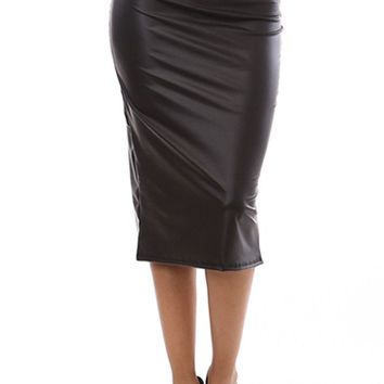 Women Career Solid Straight Faux Leather Knee Length High Waist Pencil Skirt