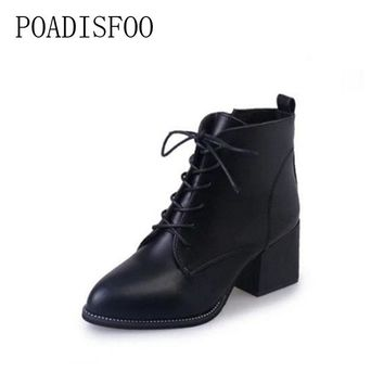 POADISFOO Riding boots 2017 spring/autumn Lace-Up Pointed Toe Cross-tied Solid Classics Black Ankle Boots Martin Boots.XL-N4