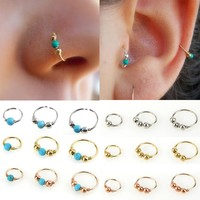 LNRRABC Hot Sale Stainless Steel Nostril Hoop Nose Ring Nose Earring Piercing Hiphop Body Piercing Jewelry