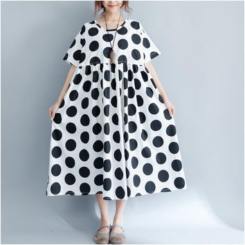 2017 new summer style vintage robe women short-sleeved polka dot oversize dresses plus size clothing ladies cotton long dress
