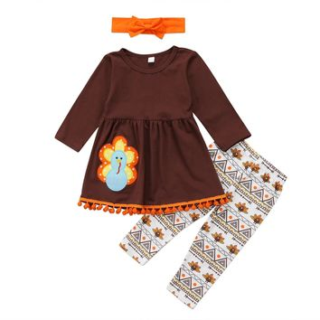 Toddler Kids Baby Girls Clothes Set Autumn Brown Long Sleeve Thanksgiving T Shirt Tops Leggings Headband Turkey Girl Outfit 3PCs