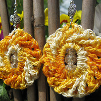 SALE - Sparkling Whirlpool Crochet Earrings in Shaded Yellows with Crackled Glass Beads, No. 32