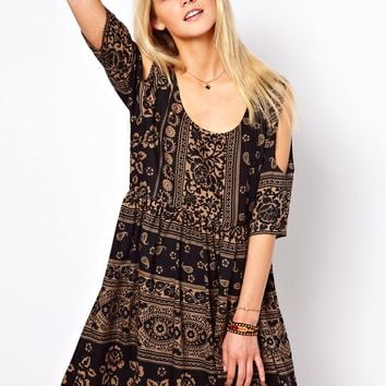 ASOS | ASOS Smock Dress With Cold Shoulder In Paisley at ASOS