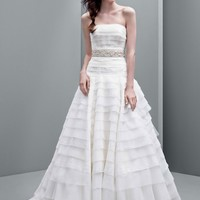 Strapless A-line Drop Waist Organza Gown - David's Bridal