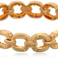 "Nine West ""Glitzy Links"" Gold-Tone Crystal Link Stretch Bracelet"