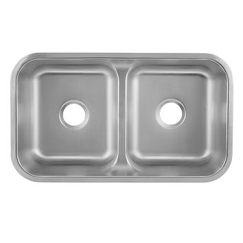 DAX-3218 / DAX 50/50 DOUBLE BOWL UNDERMOUNT KITCHEN SINK, 18 GAUGE STAINLESS STEEL, BRUSHED FINISH