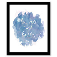 La Vie Est Belle, Blue Art, Watercolor, French Quote, Home Decor, Quote Art Print, Inspirational Quote, Printable Art INSTANT DOWNLOAD