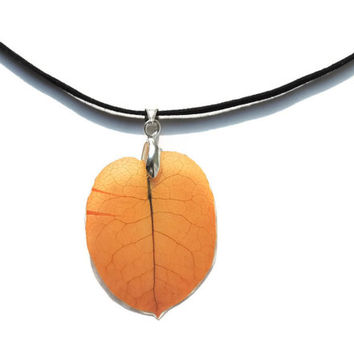 Orange Bougainvillea pendant necklace by AmazoniaAccessories