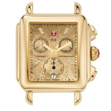 Women's MICHELE 'Deco' Diamond Dial Watch Case, 33 x 35mm - Gold