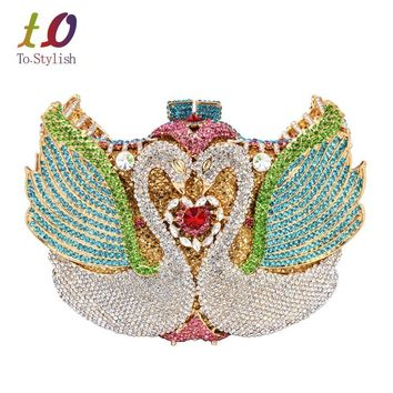 New ! rainbow Swan shape Clutch bag women evening bag Luxury rainbow crystal clutch evening bags Bling Purse wedding bag SC041