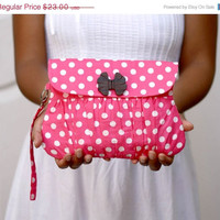 ON SALE Pink Polkadot Valentine Gathered Clutch Purse by Oyeta