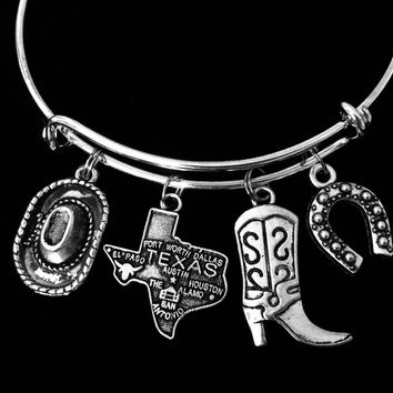 Texas Themed Jewelry Adjustable Charm Bracelet Silver Expandable Bangle Dallas Fort Worth Houston Austin The Alamo EL Paso San Antonio One Size Fits All Gift