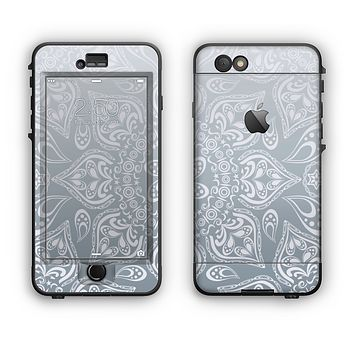 The Intricate White and Gray Vector Pattern Apple iPhone 6 Plus LifeProof Nuud Case Skin Set
