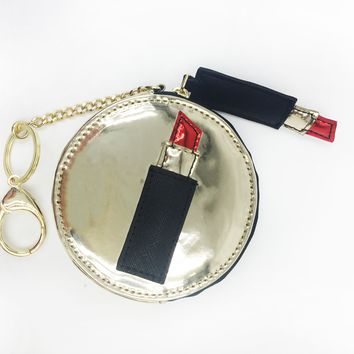 Lipstick Applique Round Coin Purse Keychain