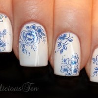 Blue Flowers Nail Wraps Art Water Transfer Decal So Beautiful 20pcs ST8067